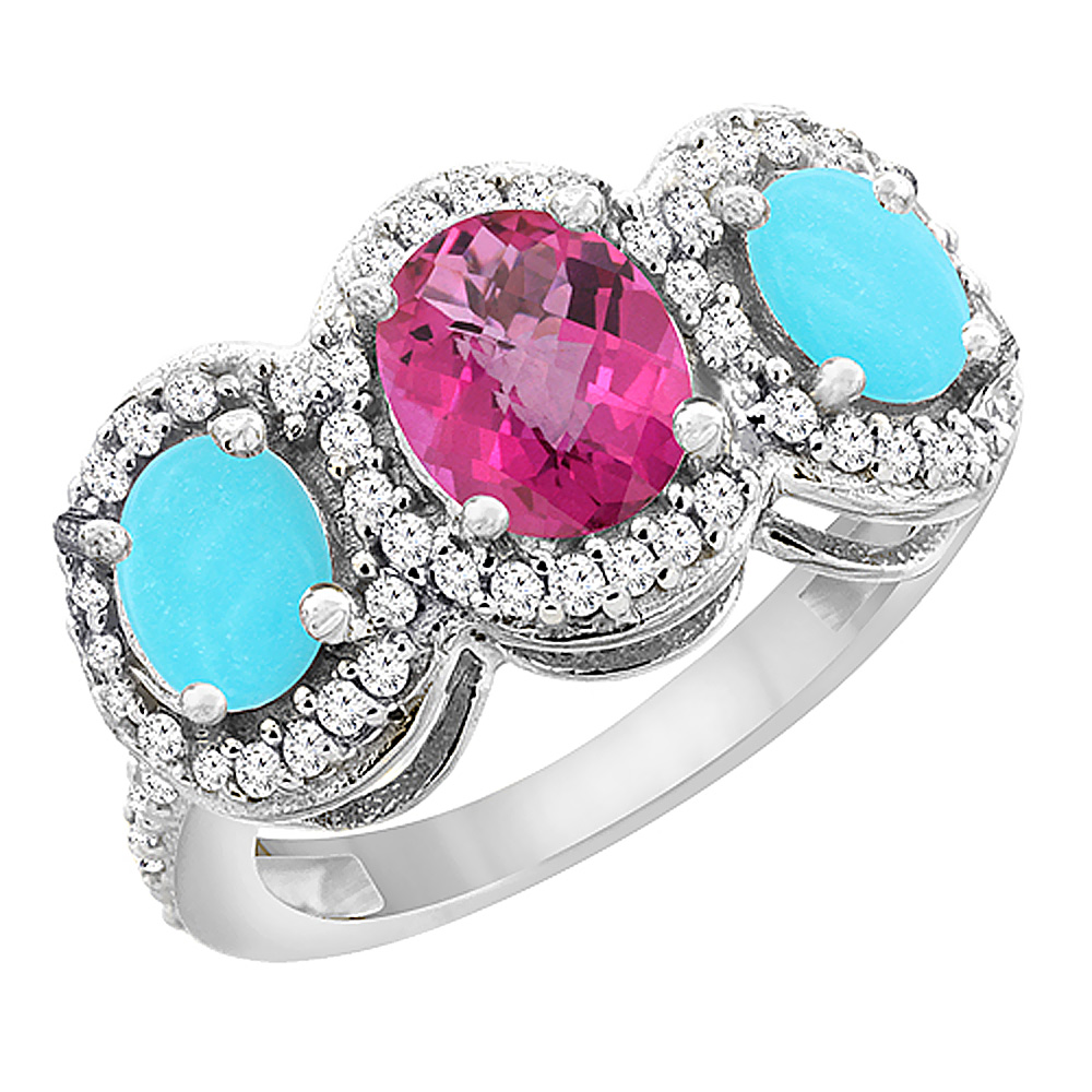 14K White Gold Natural Pink Sapphire & Turquoise 3-Stone Ring Oval Diamond Accent, sizes 5 - 10
