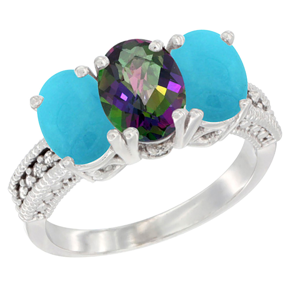 10K White Gold Diamond Natural Mystic Topaz & Turquoise Ring 3-Stone 7x5 mm Oval, sizes 5 - 10