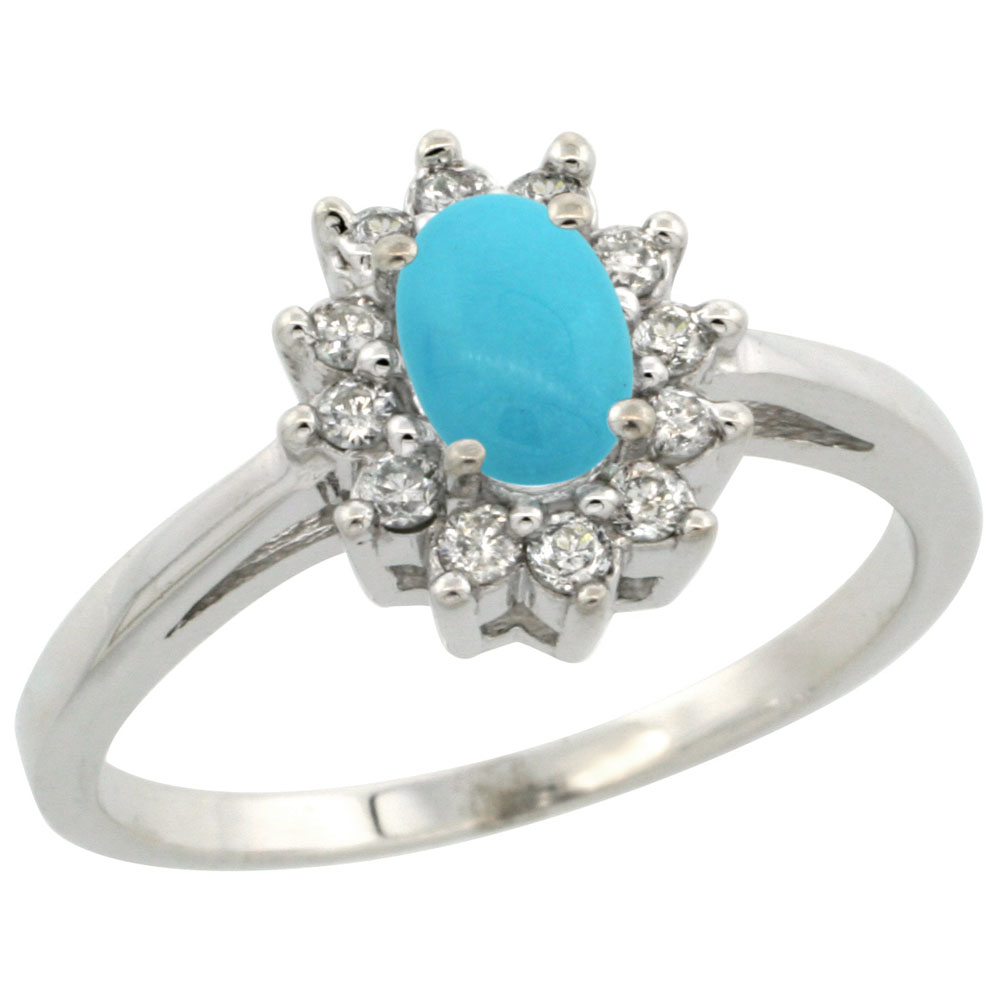 14K White Gold Natural Sleeping Beauty Turquoise Flower Diamond Halo Ring Oval 6x4 mm, sizes 5-10