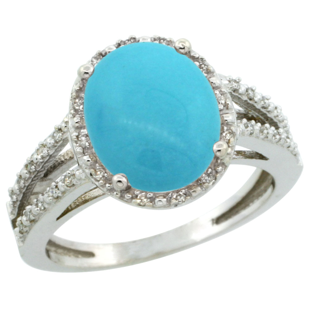 14K White Gold Natural Sleeping Beauty Turquoise Diamond Halo Ring Oval 11x9mm, sizes 5-10