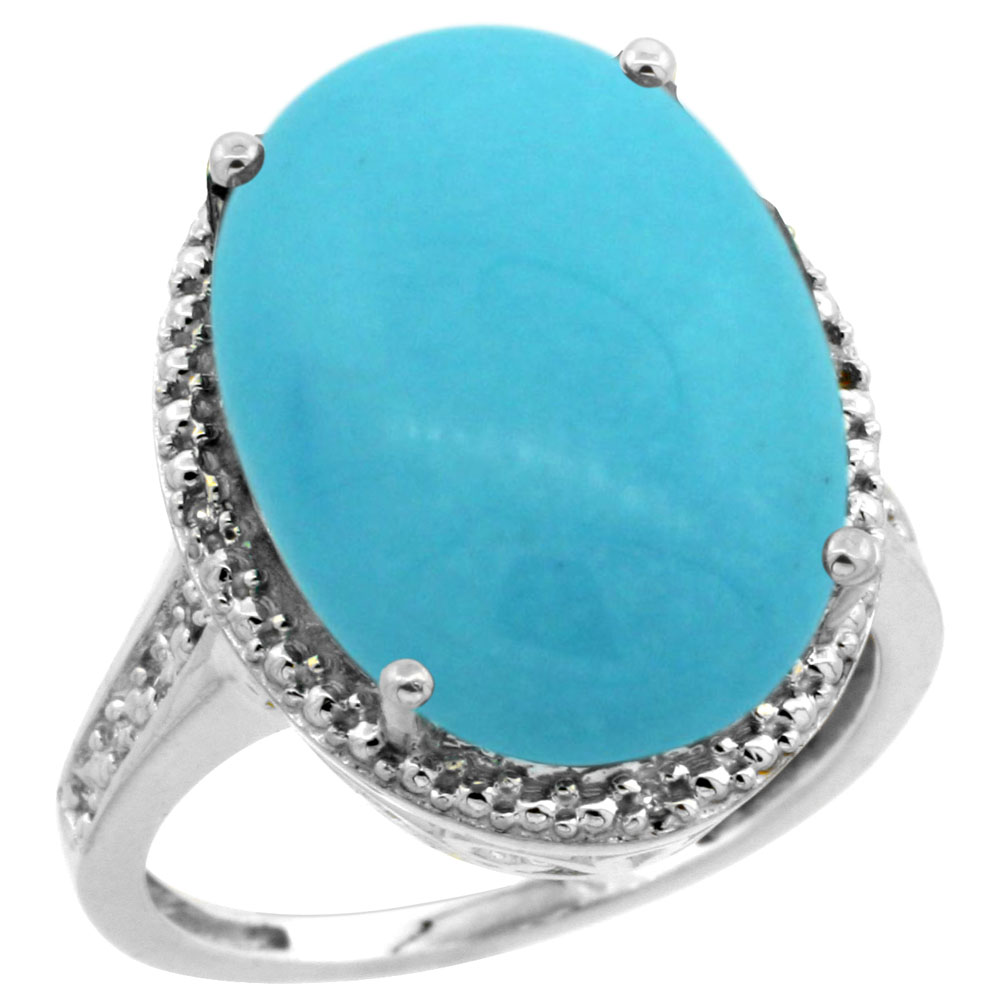 14K White Gold Natural Diamond Sleeping Beauty Turquoise Ring Oval 18x13mm, sizes 5-10