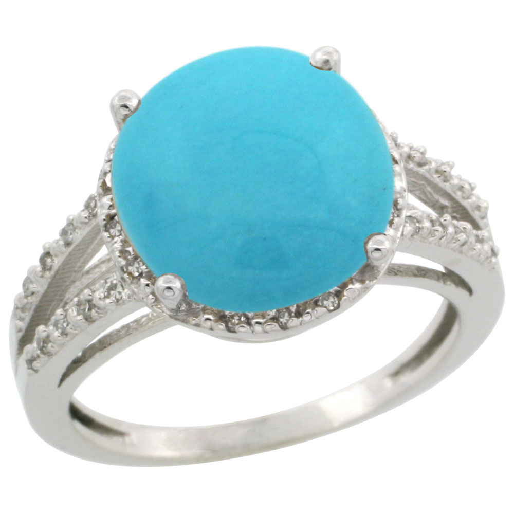14K White Gold Diamond Natural Turquoise Ring Round 11mm, sizes 5-10