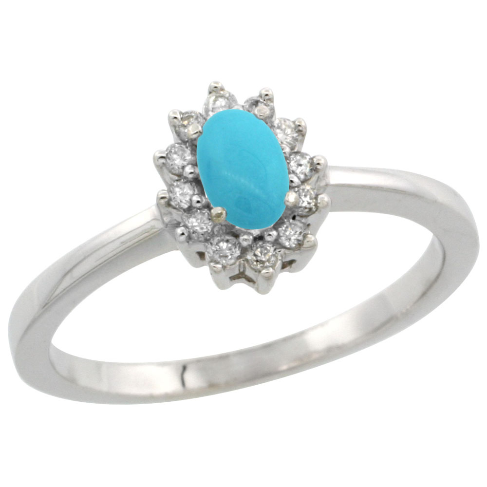 14K White Gold Natural Turquoise Ring Oval 5x3mm Diamond Halo, sizes 5-10