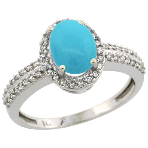 14K White Gold Natural Turquoise Ring Oval 8x6mm Diamond Halo, sizes 5-10