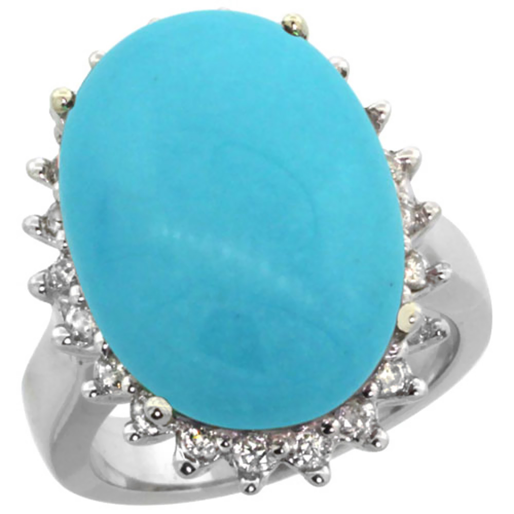 14K White Gold Natural Turquoise Ring Large Oval 18x13mm Diamond Halo, sizes 5-10