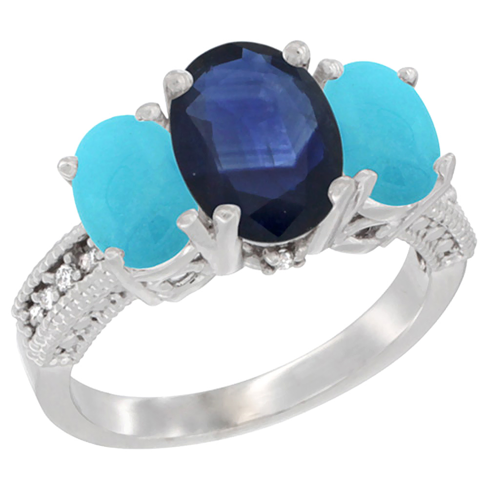 10K White Gold Diamond Natural Quality Blue Sapphire 3-stone MothersRing Oval 8x6mm with Turquoise,sz5-10