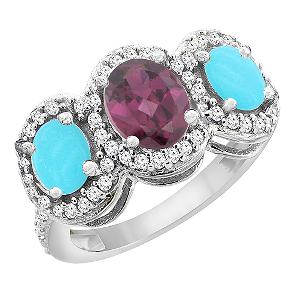 10K White Gold Natural Rhodolite & Turquoise 3-Stone Ring Oval Diamond Accent, sizes 5 - 10