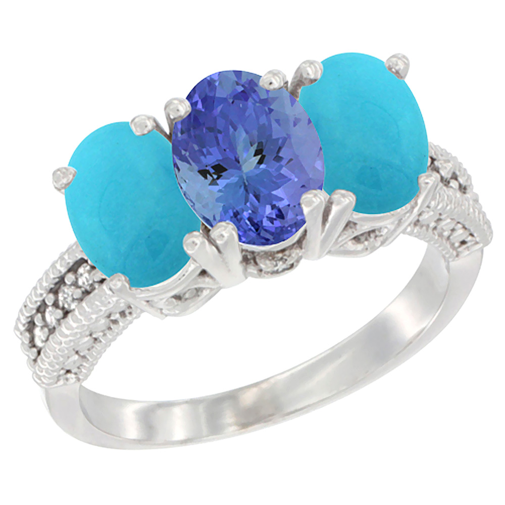 14K White Gold Natural Tanzanite & Turquoise Sides Ring 3-Stone 7x5 mm Oval Diamond Accent, sizes 5 - 10