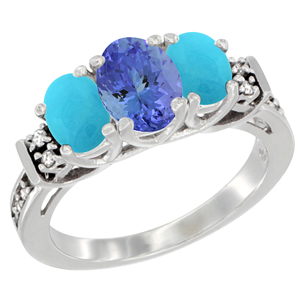 14K White Gold Natural Tanzanite & Turquoise Ring 3-Stone Oval Diamond Accent, sizes 5-10