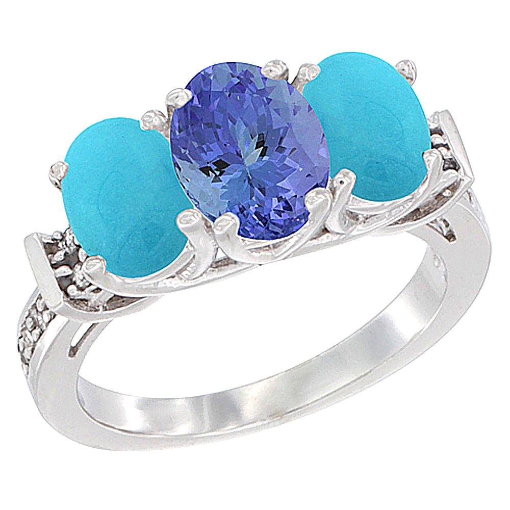 14K White Gold Natural Tanzanite & Turquoise Sides Ring 3-Stone Oval Diamond Accent, sizes 5 - 10