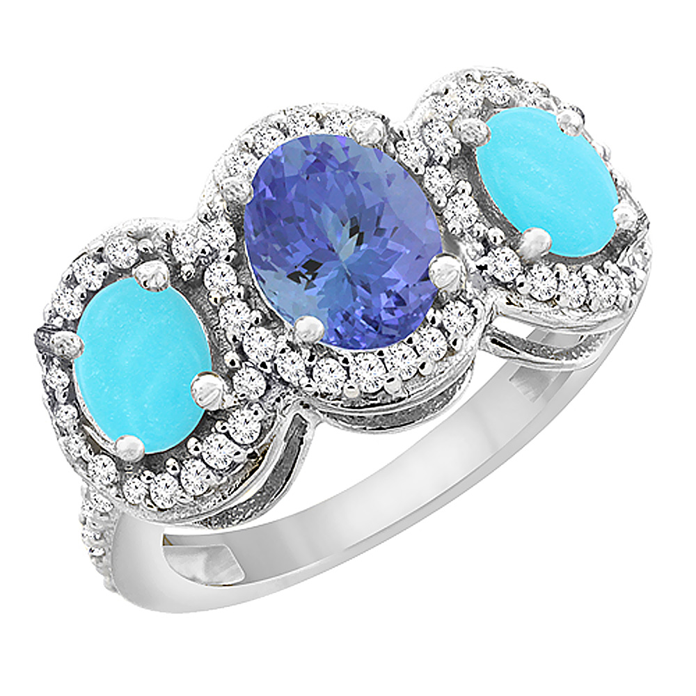 14K White Gold Natural Tanzanite & Turquoise 3-Stone Ring Oval Diamond Accent, sizes 5 - 10