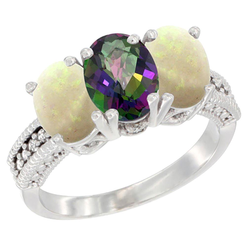 10K White Gold Diamond Natural Mystic Topaz & Opal Ring 3-Stone 7x5 mm Oval, sizes 5 - 10