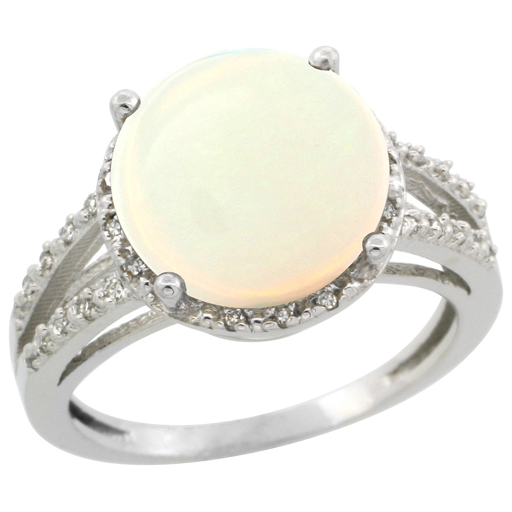 10K White Gold Diamond Natural Opal Ring Round 11mm, sizes 5-10