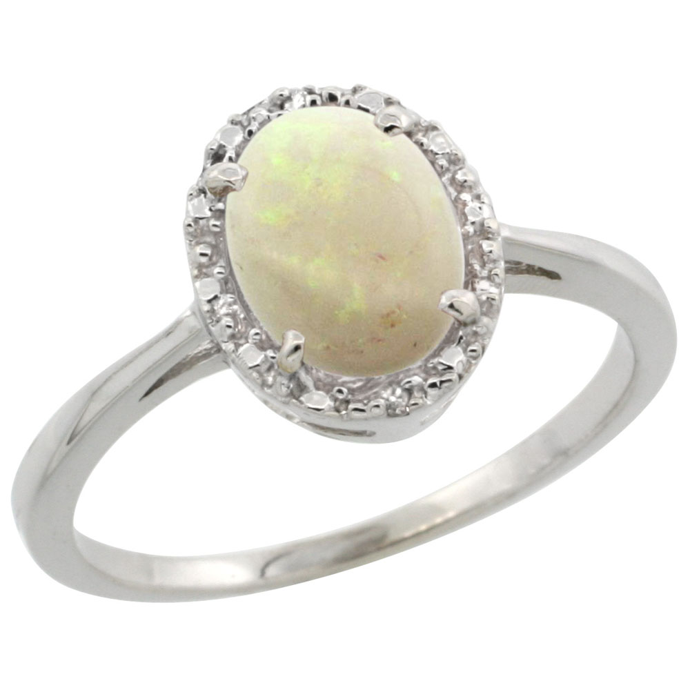 10k White Gold Natural Opal Ring Oval 8x6 mm Diamond Halo, sizes 5-10