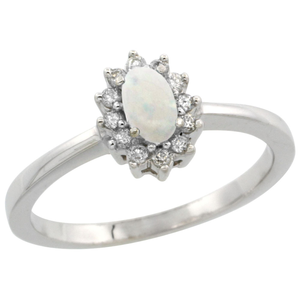 10k White Gold Natural Opal Ring Oval 5x3mm Diamond Halo, sizes 5-10