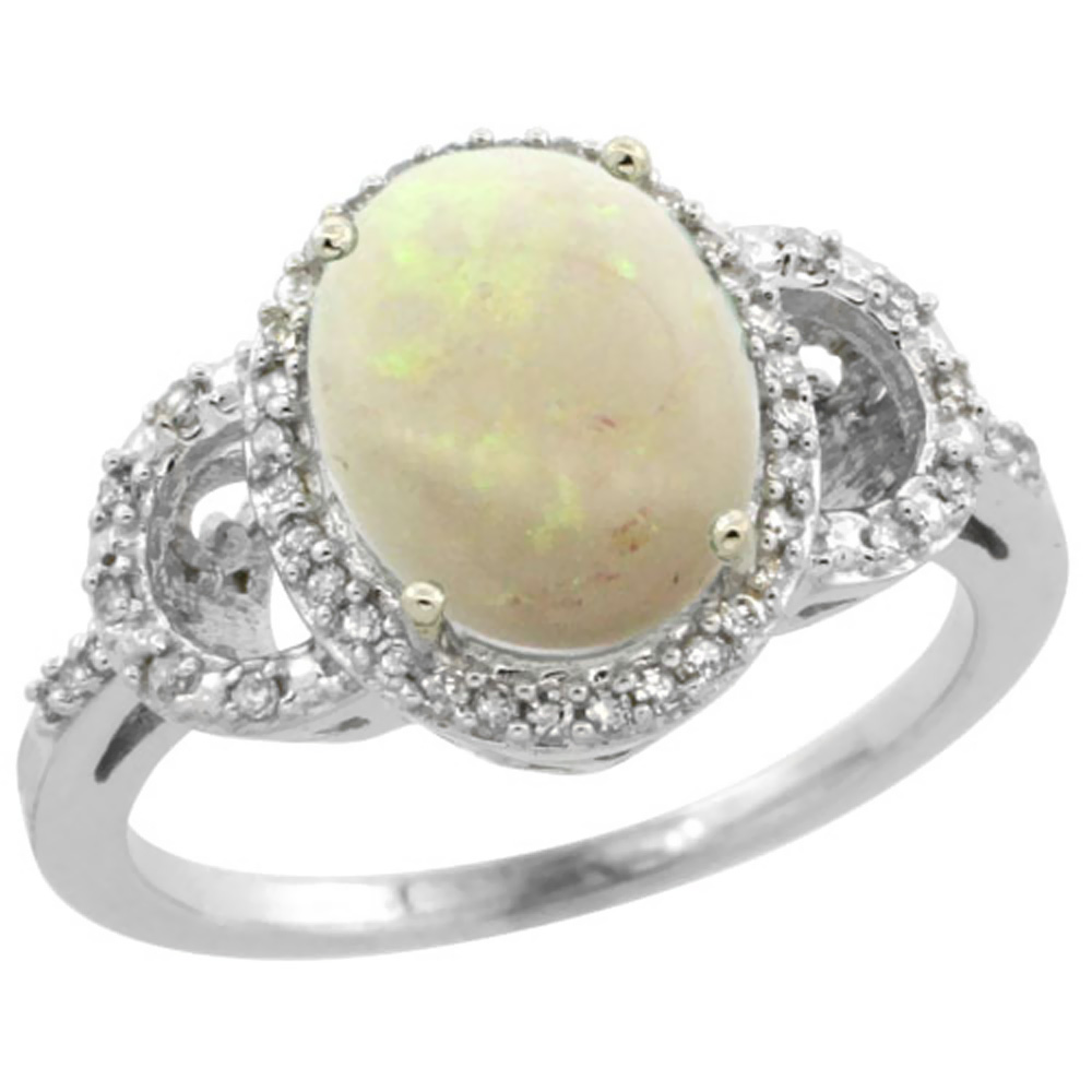 10K White Gold Diamond Natural Opal Engagement Ring Oval 10x8mm, sizes 5-10
