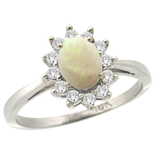 10k White Gold Natural Opal Engagement Ring Oval 7x5mm Diamond Halo, sizes 5-10
