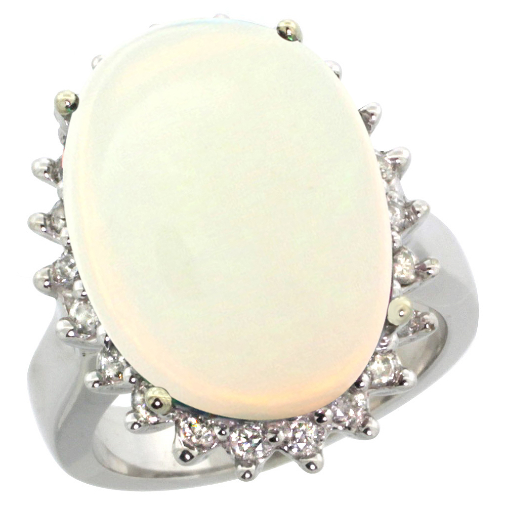 10k White Gold Natural Opal Ring Large Oval 18x13mm Diamond Halo, sizes 5-10