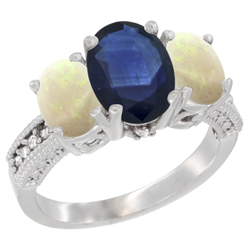 10K White Gold Diamond Natural Quality Blue Sapphire 3-stone Mothers Ring Oval 8x6mm with Opal, size5-10