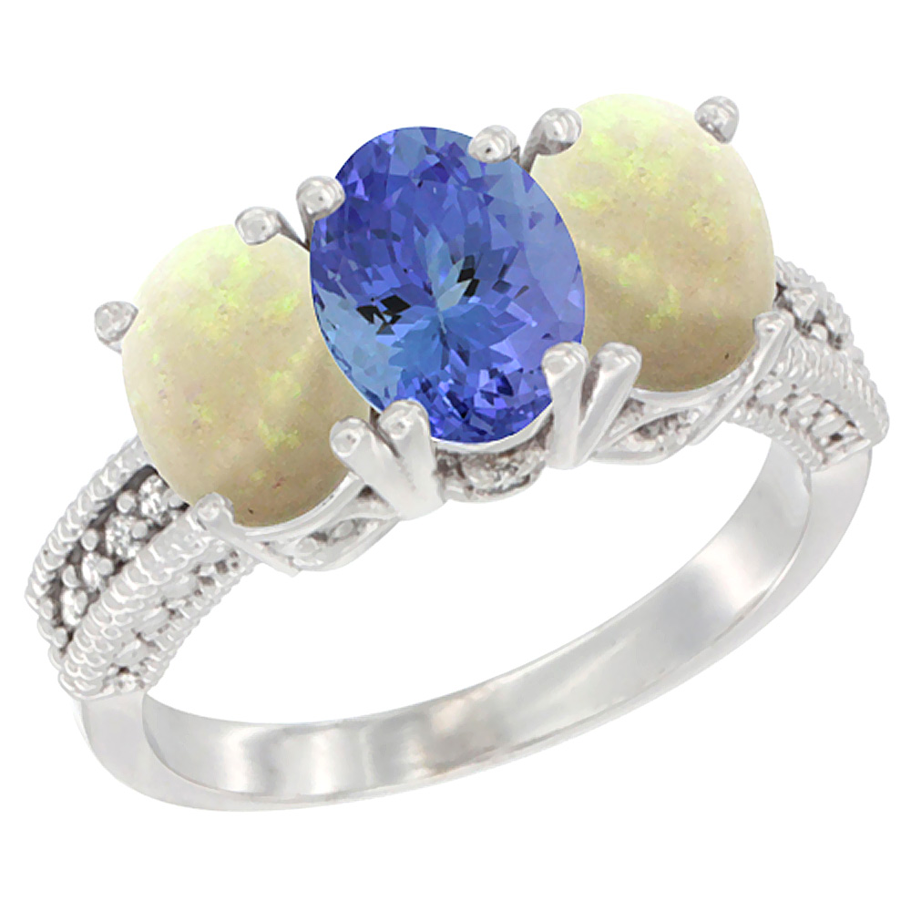 14K White Gold Natural Tanzanite & Opal Sides Ring 3-Stone 7x5 mm Oval Diamond Accent, sizes 5 - 10