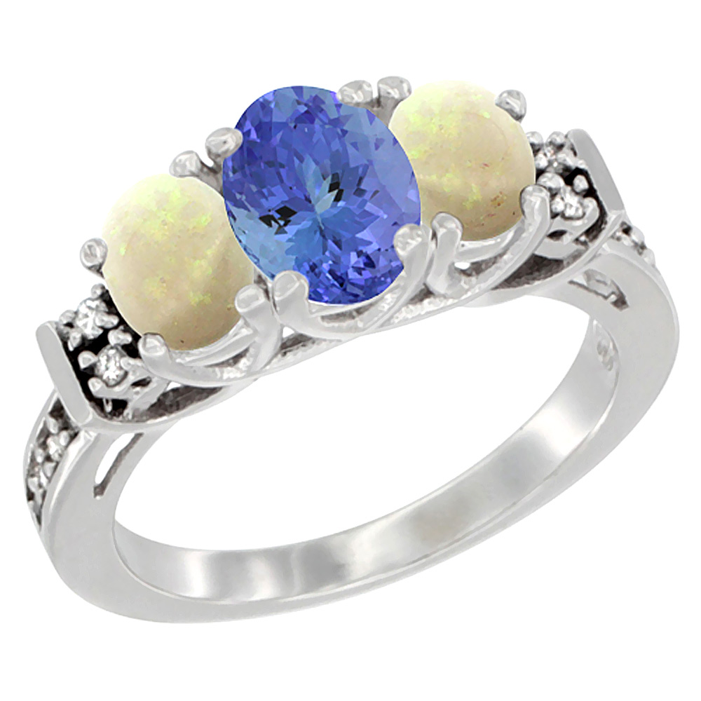 14K White Gold Natural Tanzanite & Opal Ring 3-Stone Oval Diamond Accent, sizes 5-10