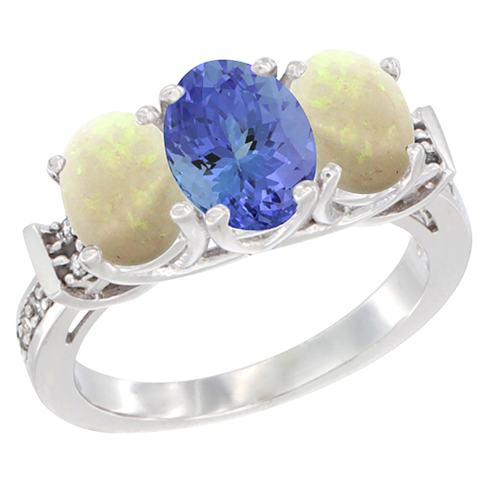 14K White Gold Natural Tanzanite & Opal Sides Ring 3-Stone Oval Diamond Accent, sizes 5 - 10
