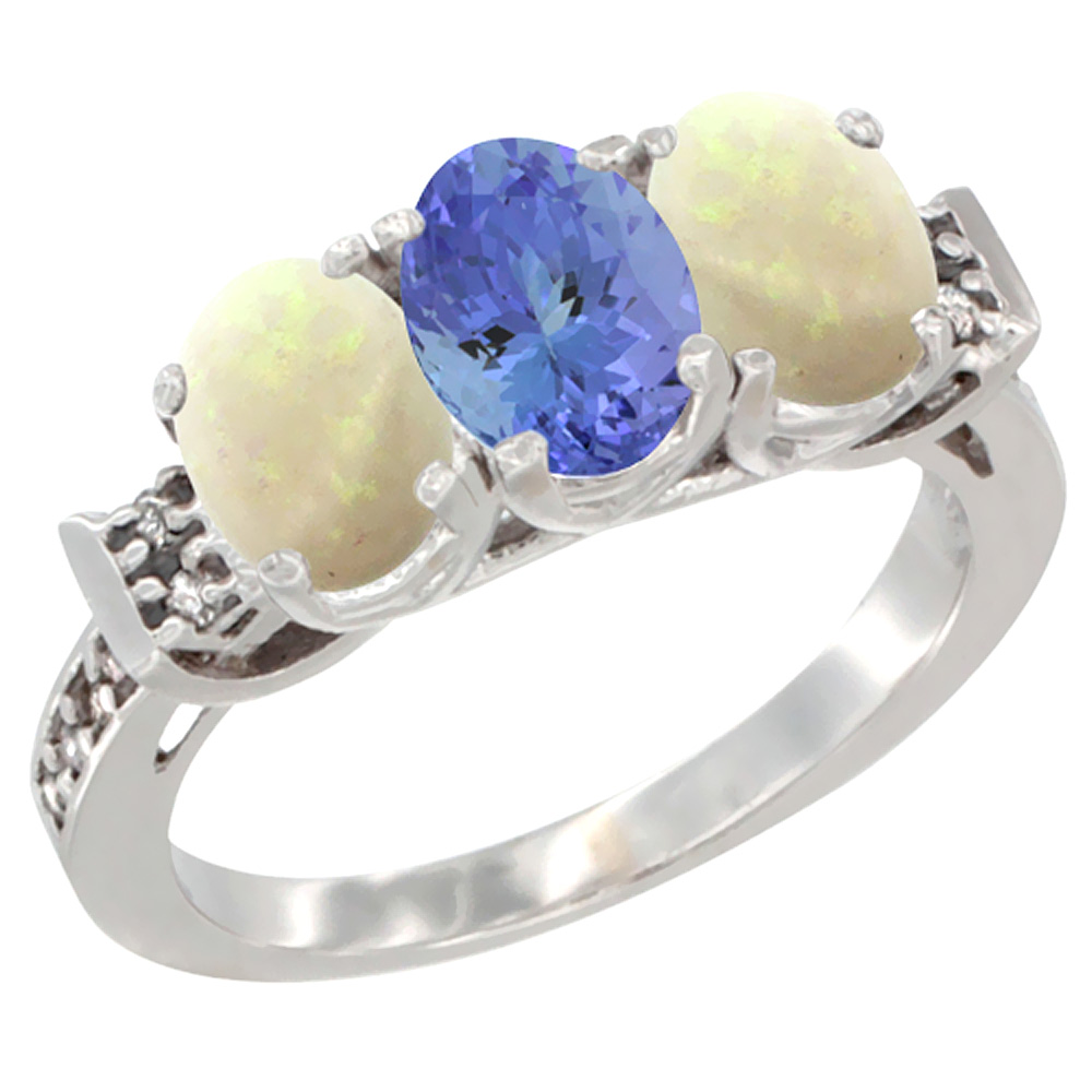 14K White Gold Natural Tanzanite & Opal Sides Ring 3-Stone Oval 7x5 mm Diamond Accent, sizes 5 - 10