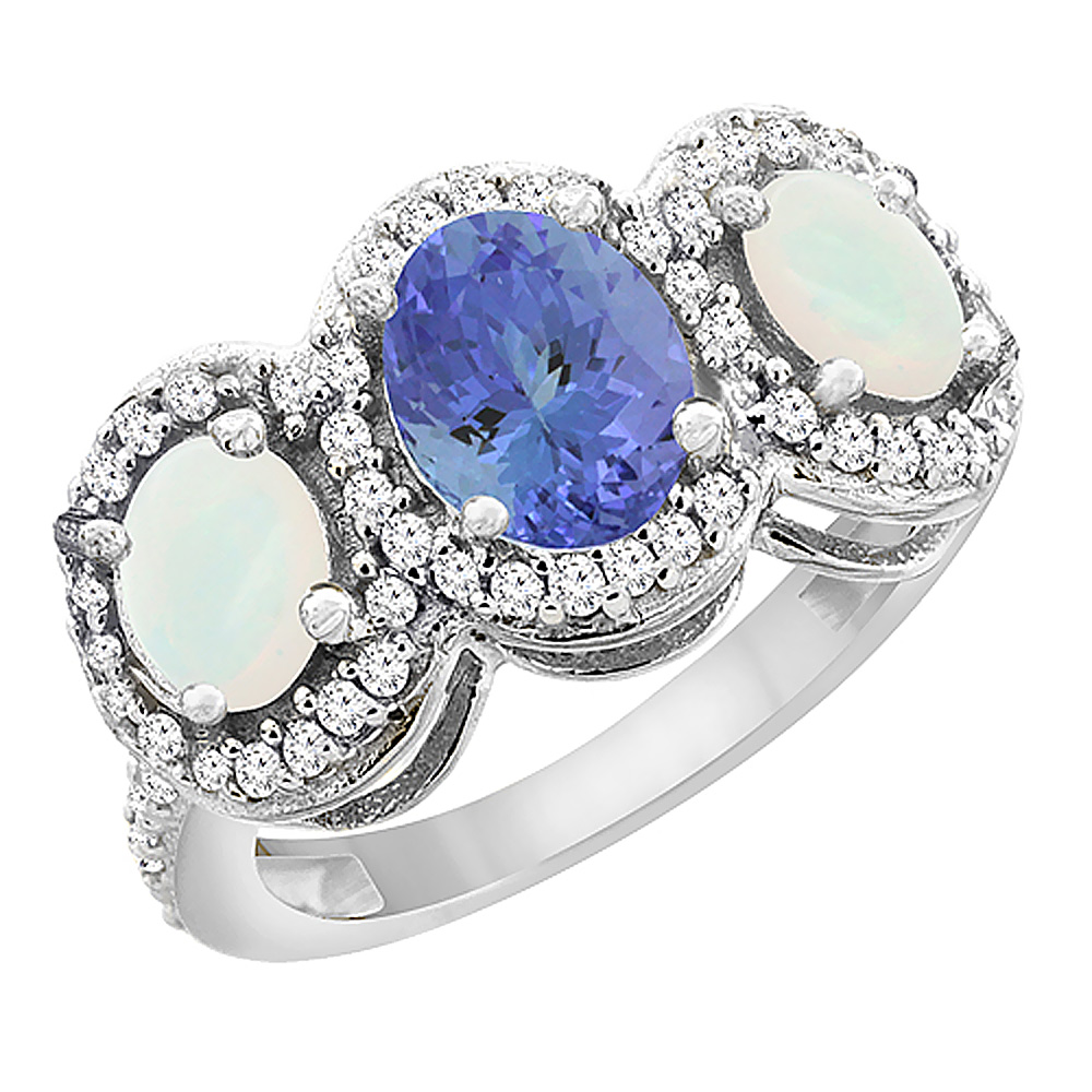 14K White Gold Natural Tanzanite & Opal 3-Stone Ring Oval Diamond Accent, sizes 5 - 10