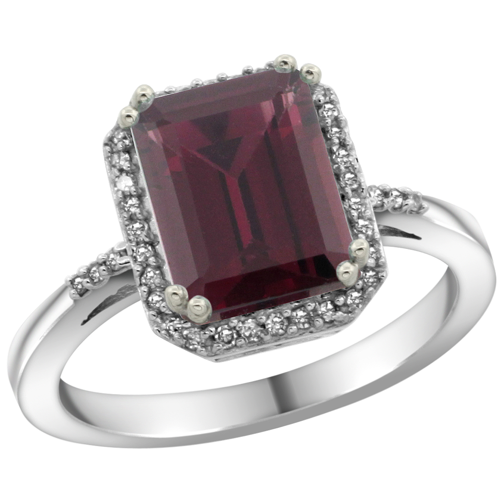 10K White Gold Diamond Natural Rhodolite Ring Emerald-cut 9x7mm, sizes 5-10