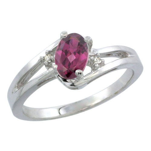 10K White Gold Diamond Natural Rhodolite Ring Oval 6x4 mm, sizes 5-10