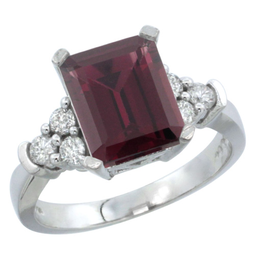 10K White Gold Natural Rhodolite Ring Octagon 9x7mm Diamond Accent, sizes 5-10