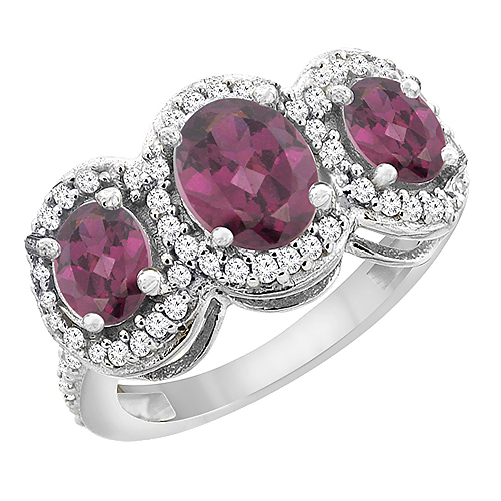 14K White Gold Natural Rhodolite 3-Stone Ring Oval Diamond Accent, sizes 5 - 10