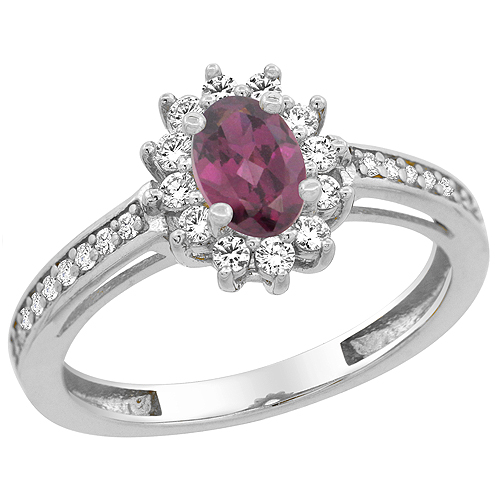 10K White Gold Natural Rhodolite Flower Halo Ring Oval 6x4 mm Diamond Accents, sizes 5 - 10