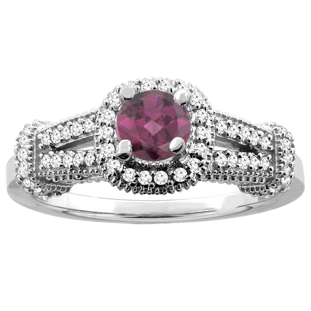 10K White Gold Natural Rhodolite Engagement Halo Ring Round 5mm Diamond Accents, sizes 5 - 10