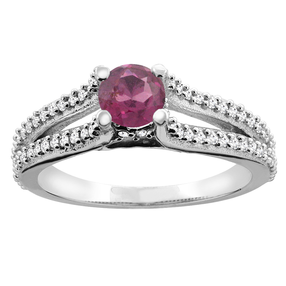 10K White Gold Natural Rhodolite Engagement Split Shank Ring Round 5mm Diamond Accents, sizes 5 - 10