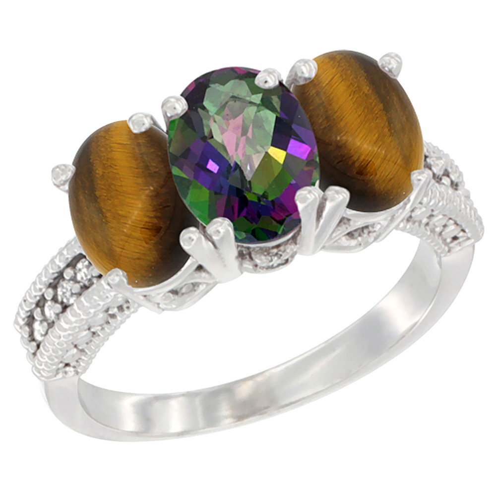 10K White Gold Diamond Natural Mystic Topaz & Tiger Eye Ring 3-Stone 7x5 mm Oval, sizes 5 - 10