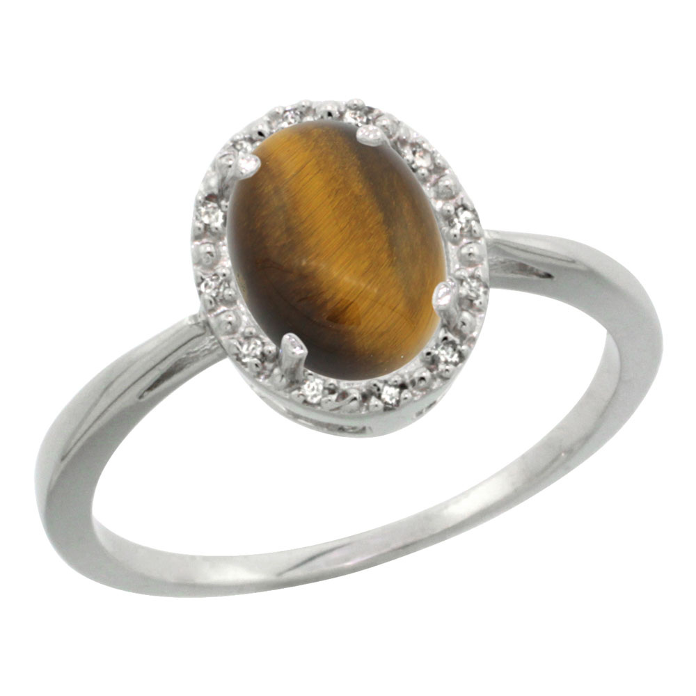 10K White Gold Natural Tiger Eye Diamond Halo Ring Oval 8X6mm, sizes 5-10