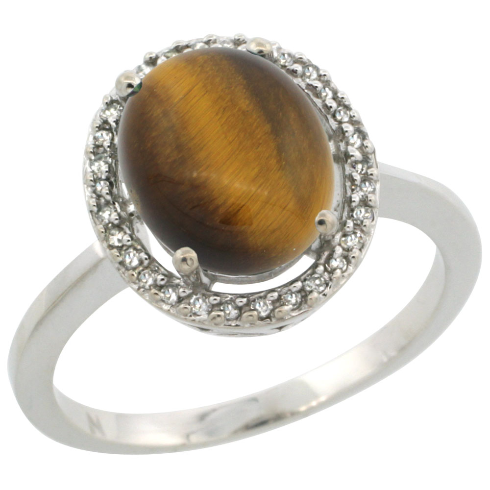 10K White Gold Diamond Halo Natural Tiger Eye Engagement Ring Oval 10x8 mm, sizes 5 10