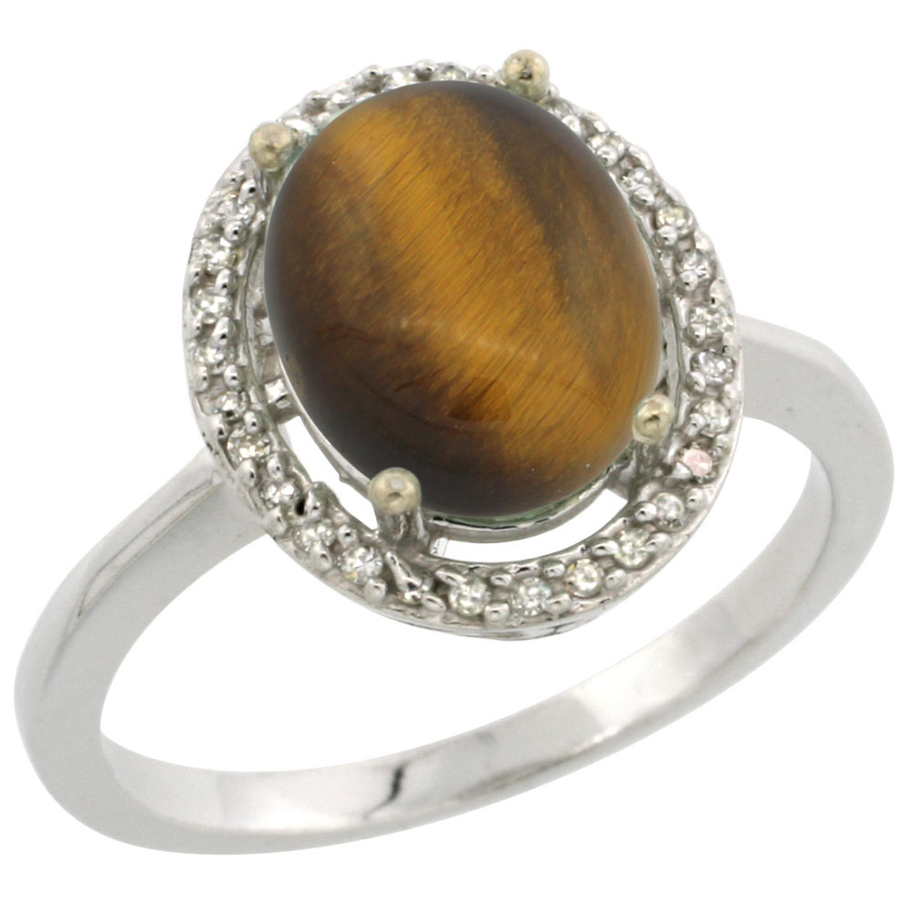 14K White Gold Diamond Natural Tiger Eye Engagement Ring Oval 10x8mm, sizes 5-10