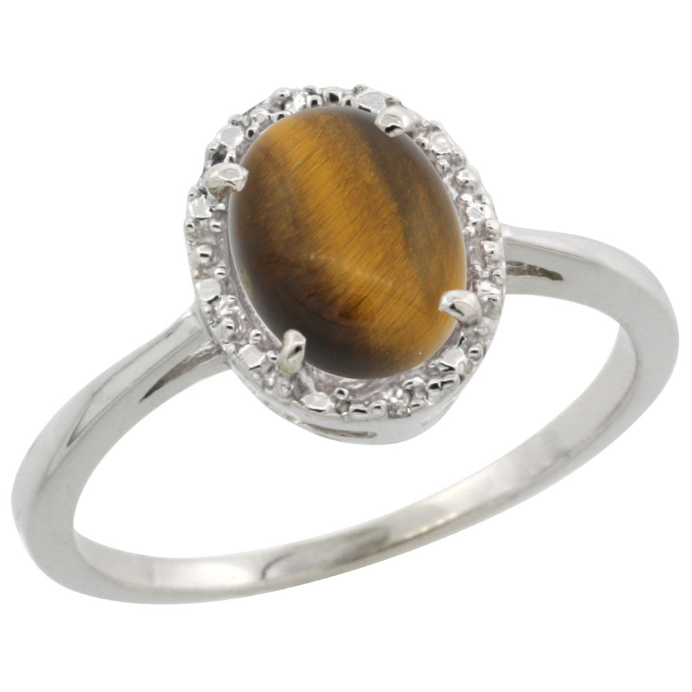14K White Gold Natural Tiger Eye Ring Oval 8x6 mm Diamond Halo, sizes 5-10