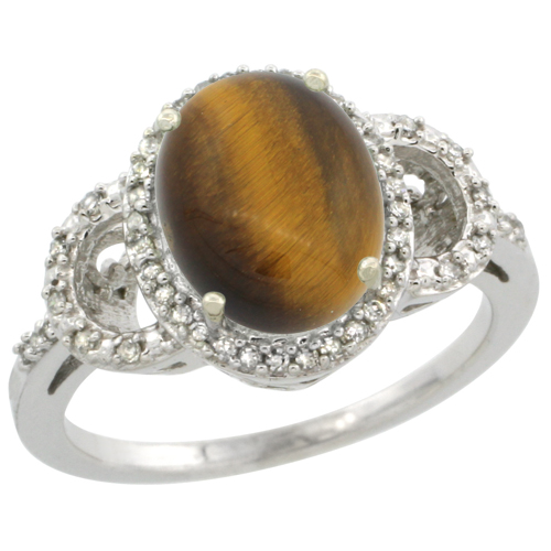 10K White Gold Diamond Natural Tiger Eye Engagement Ring Oval 10x8mm, sizes 5-10