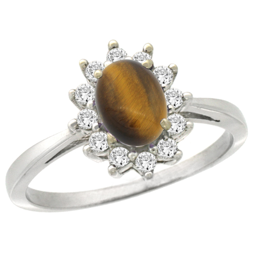 10k White Gold Natural Tiger Eye Engagement Ring Oval 7x5mm Diamond Halo, sizes 5-10