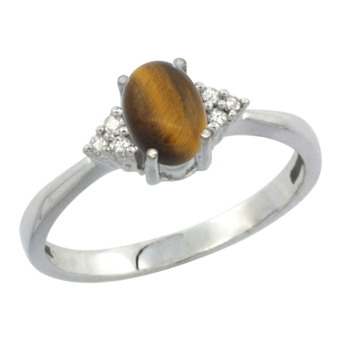 14K White Gold Diamond Natural Tiger Eye Engagement Ring Oval 7x5mm, sizes 5-10