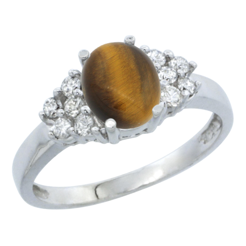 14K White Gold Natural Tiger Eye Ring Oval 8x6mm Diamond Accent, sizes 5-10