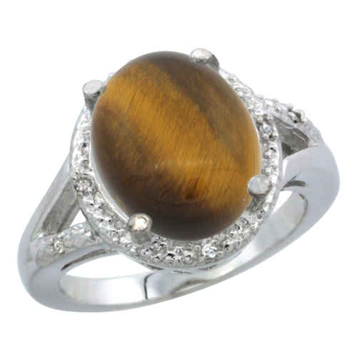 10K White Gold Natural Tiger Eye Ring Oval 12x10mm Diamond Accent, sizes 5-10