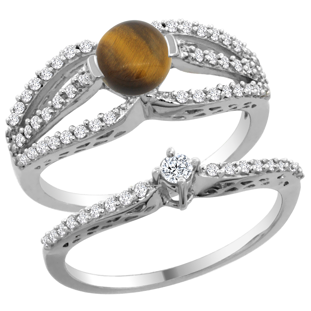 14K White Gold Natural Tiger Eye 2-piece Engagement Ring Set Round 5mm, sizes 5 - 10