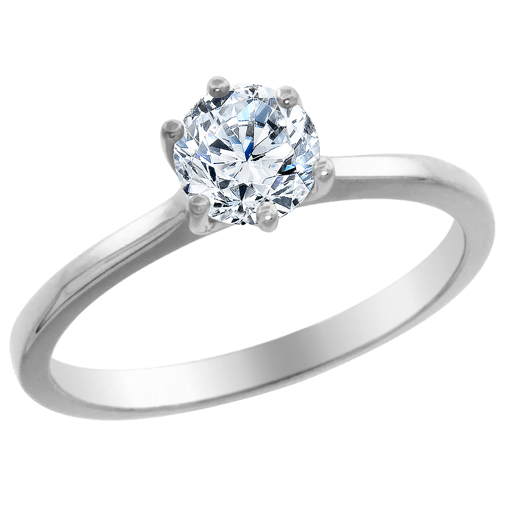 14K White Gold 0.65 ct Diamond Solitaire Ring Round, sizes 5 - 10
