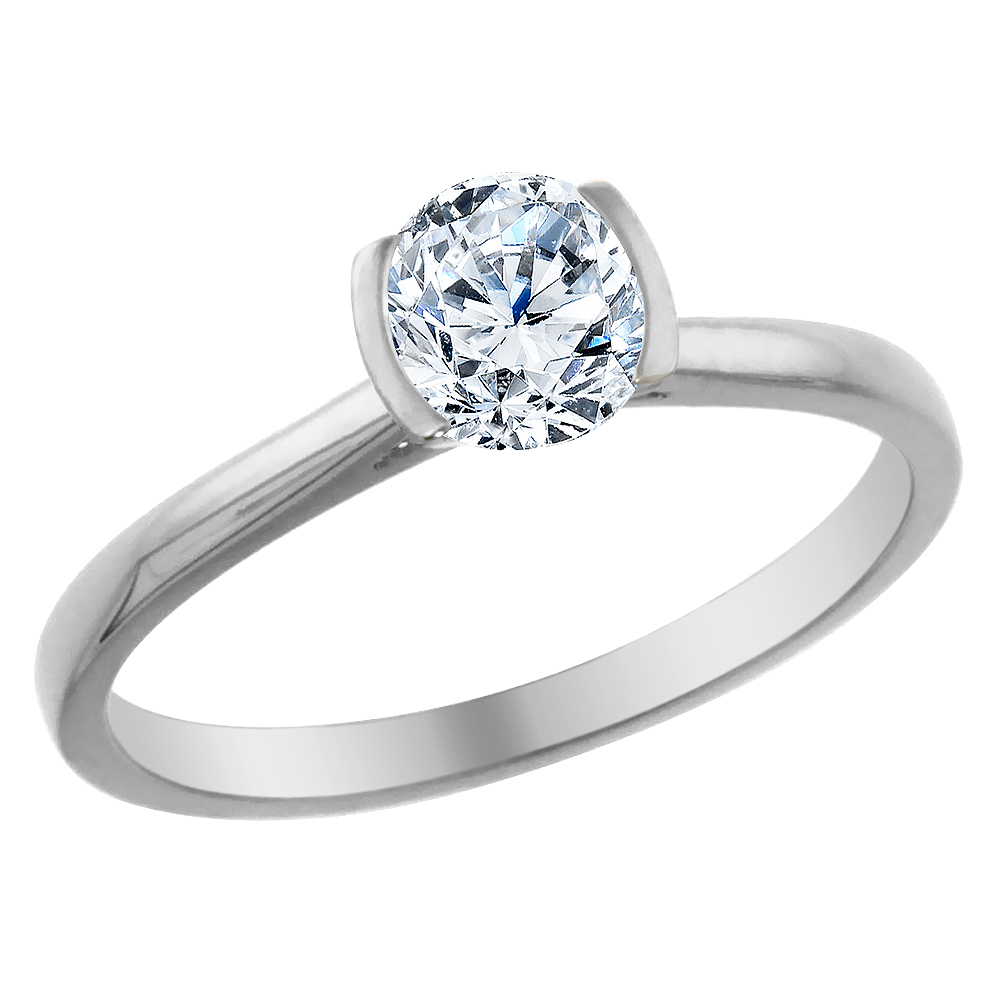 14K White Gold 0.5 cttw Diamond Solitaire Ring Round, sizes 5 - 10