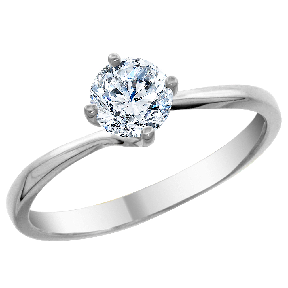 14K White Gold Diamond Solitaire Ring Round 1.5cttw, sizes 5 - 10