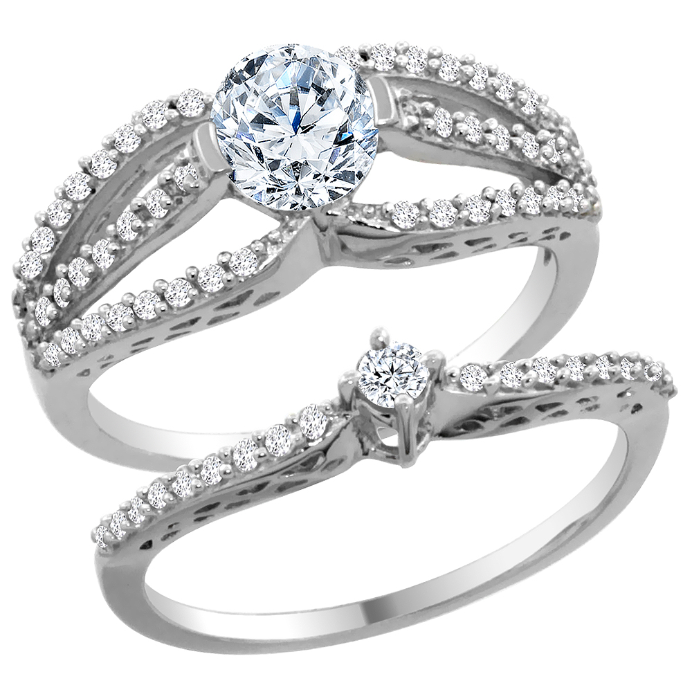14K White Gold Diamond 2-piece Engagement Ring Set 0.50ct, sizes 5 - 10